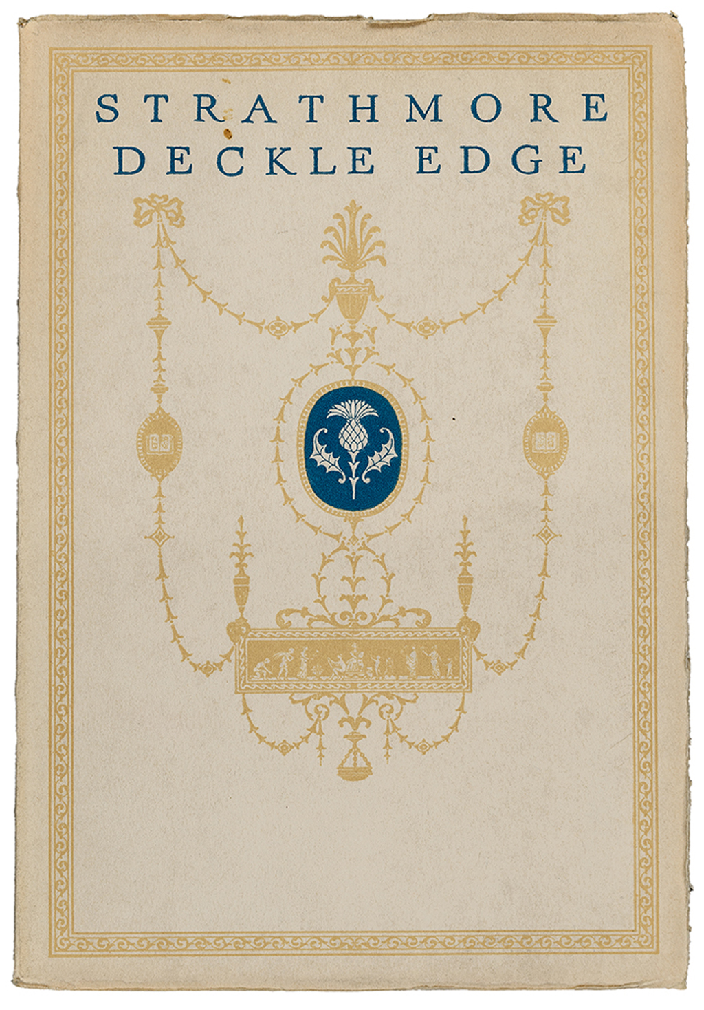 Strathmore Deckle Edge sample book (Strathmore Paper Co., 1925). Design probably by T.M. Cleland. Photograph by Vincent Trinacria.
