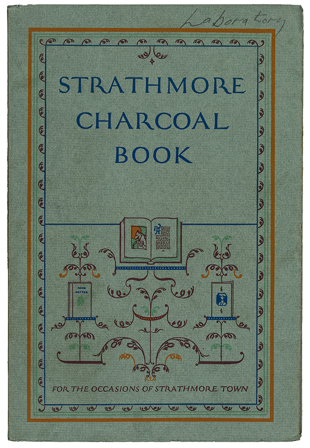 Strathmore Charcoal Book sample book (Strathmore Paper Co., 1924). Design by Guido and Lawrence Rosa. Photograph by Vincent Trinacria.