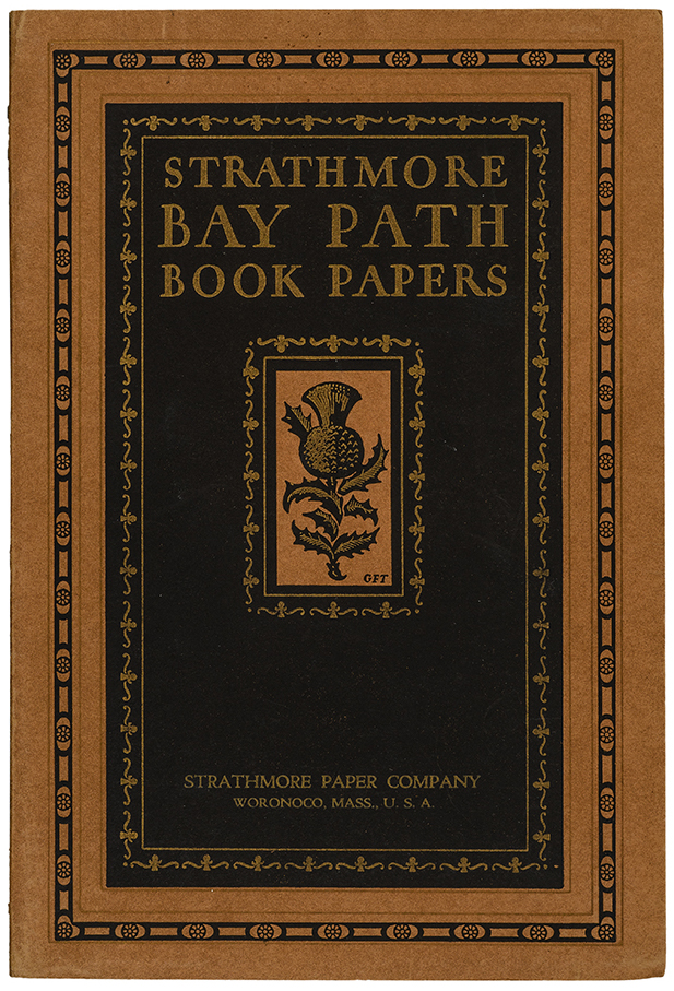 Strathmore Bay Path Book Papers sample book (Strathmore Paper Co., 1925). Design by George F. Trenholm. Photograph by Vincent Trinacria.