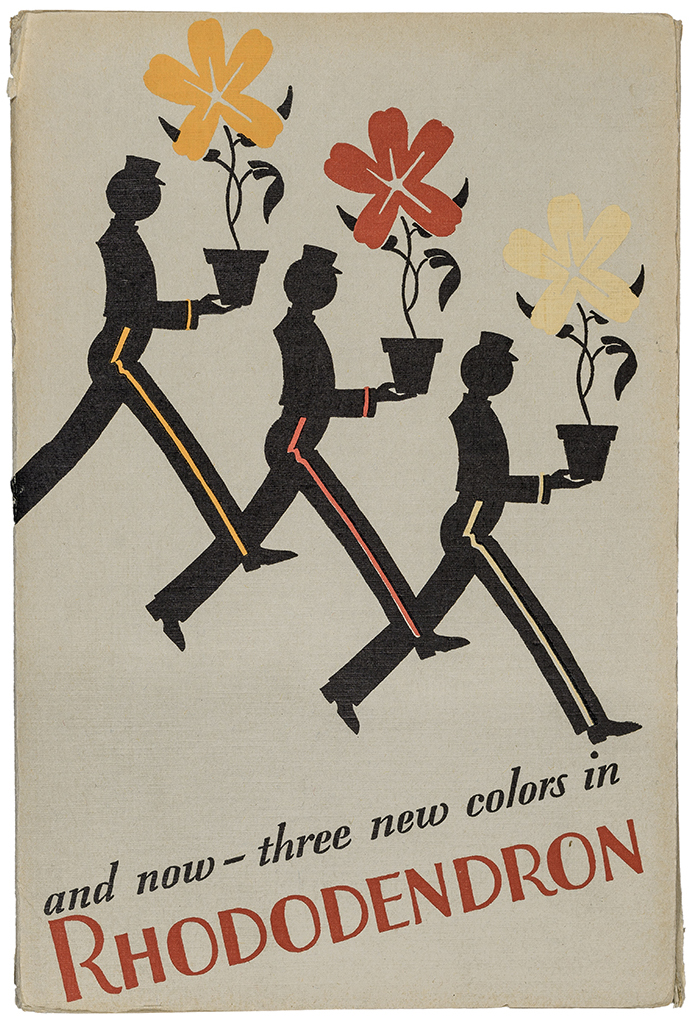 """""""and now—three new colors in Rhododendron"""" sample book for Rhododendron Covers (Strathmore Paper Co., 1929). Designer unknown. Photograph by Vincent Trinacria."""
