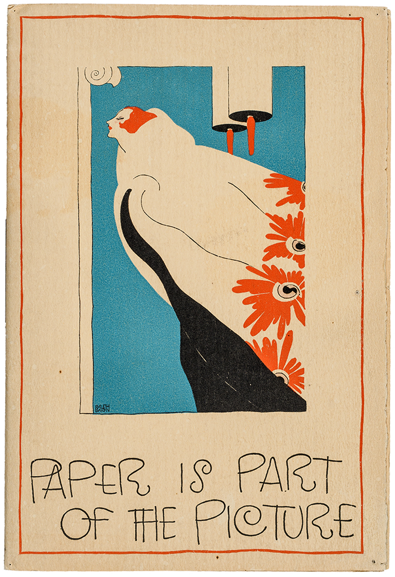 Cover of Paper Is Part of the Picture mailer (Strathmore Paper Co., 1922). Design by Ralph Barton. Photograph by Vincent Trinacria
