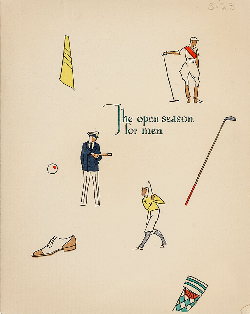 """The Open Season for Men"" mailer for the Strathmore Men's Shop (1923). Design by George Illian. Photograph by Vincent Trinacria."