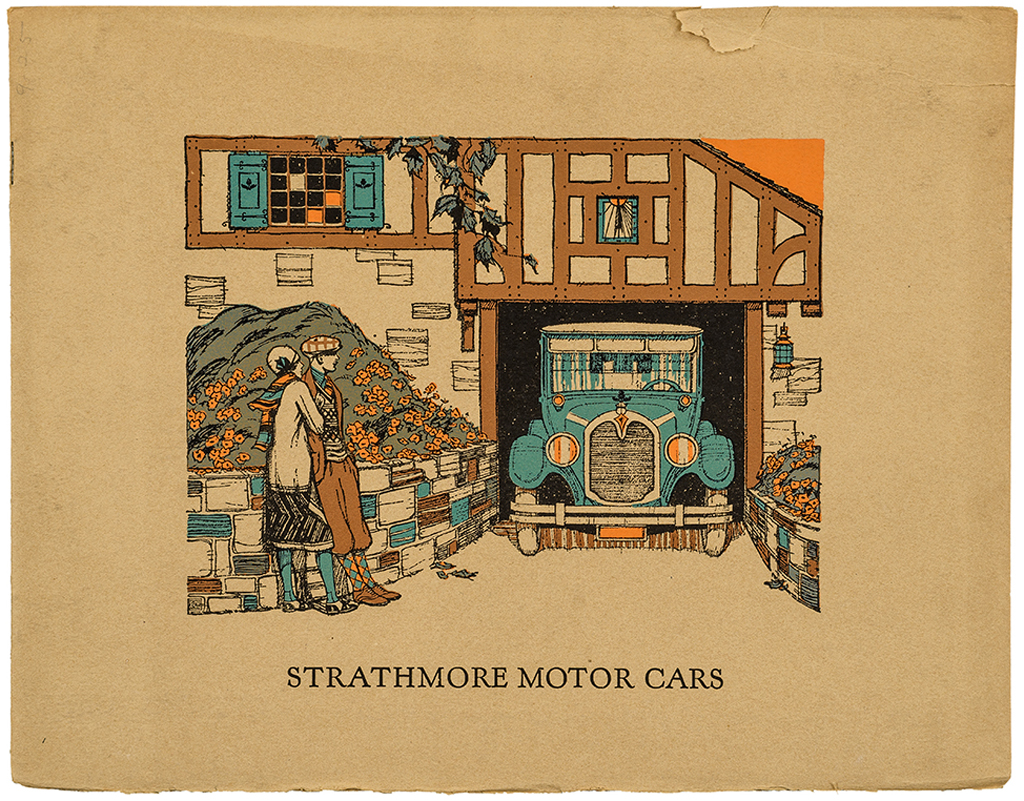 Cover of Strathmore Motor Cars (Strathmore Paper Co., 1925). Design by E.C. Davenport. Photograph by Vincent Trinacria.