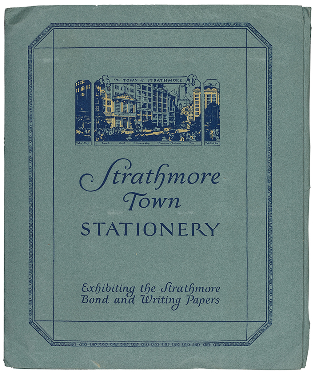 Cover of Strathmore Town Stationery (Strathmore Paper Co., 1923). Design by Guido and Lawrence Rosa. Photograph by Vincent Trinacria.