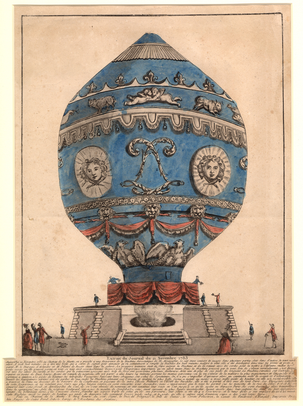 Print depicting Montgolfier balloon in which Pilätre de Rozier and François Laurent, the marquis d'Arlandes, became the first human beings to make an ascent. From airandspace.si.edu via Pinterest.