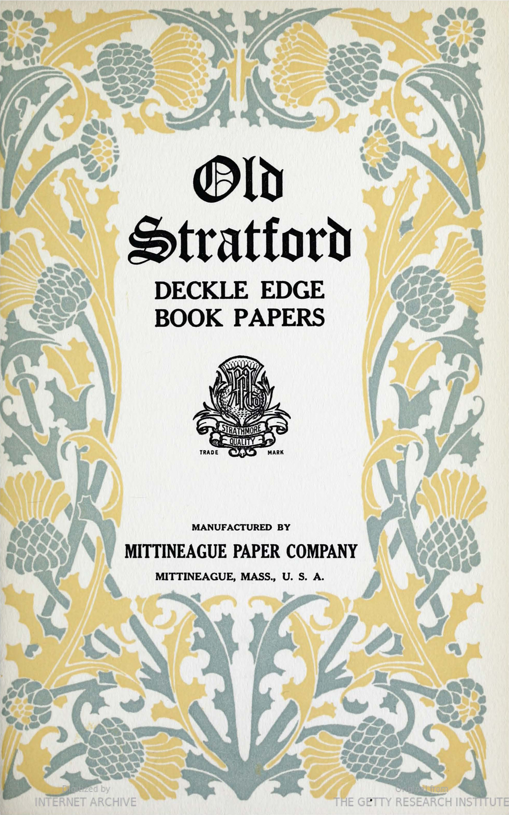 Old Stratford sample page from Strathmore Quality (1906).