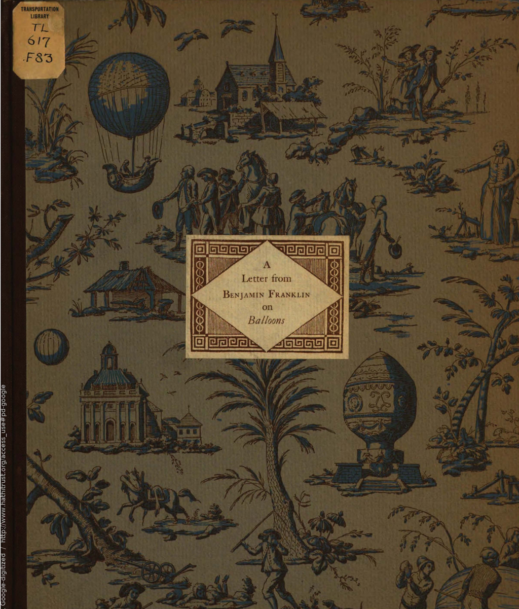 Benjamin Franklin's Letter on Balloons. Cover design by W.A. Dwiggins. Printed by The Merrymount Press.