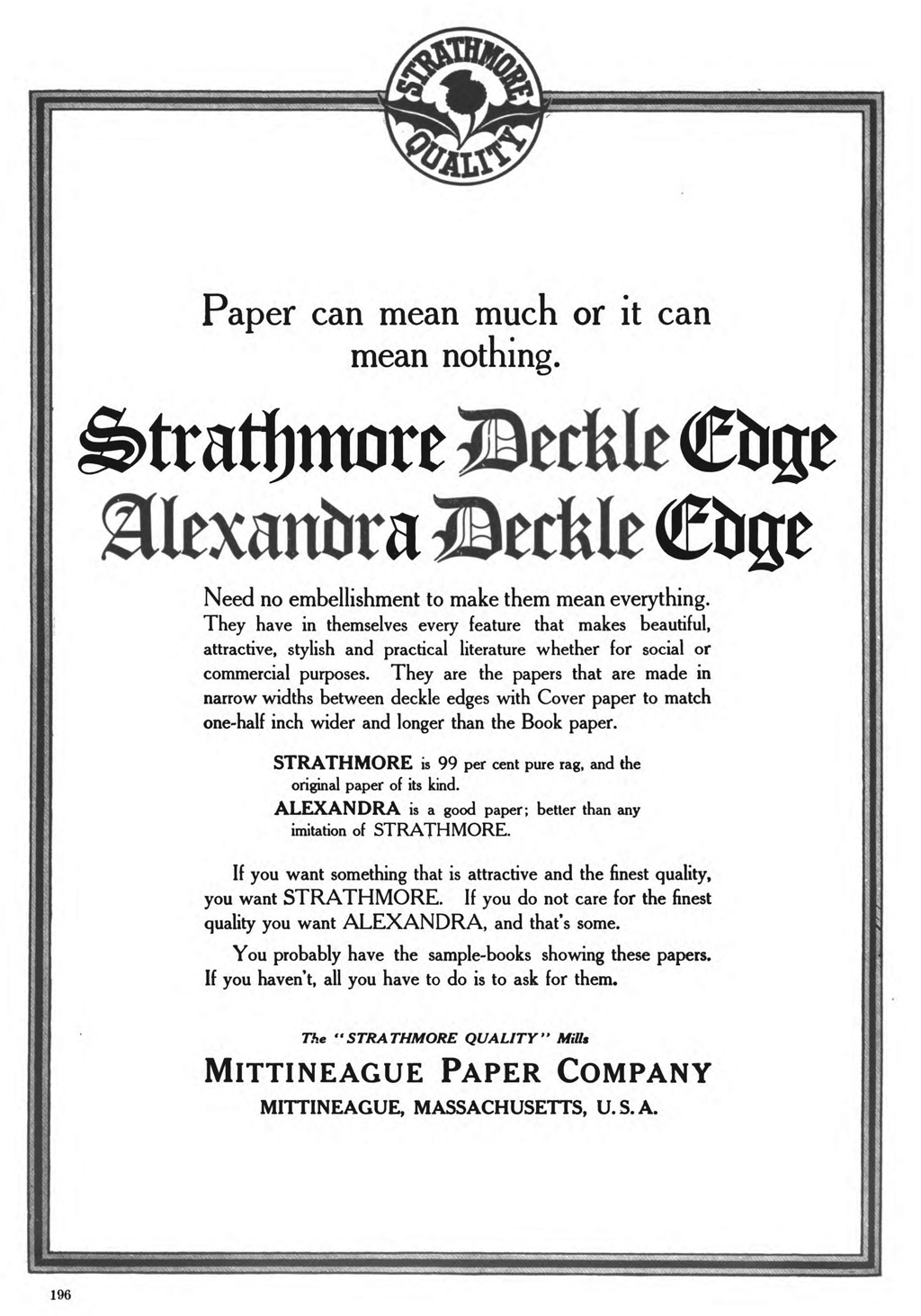 Strathmore Deckle Edge and Alexandra Deckle Edge papers advertisement in The Inland Printer (May 1909), p. 196.