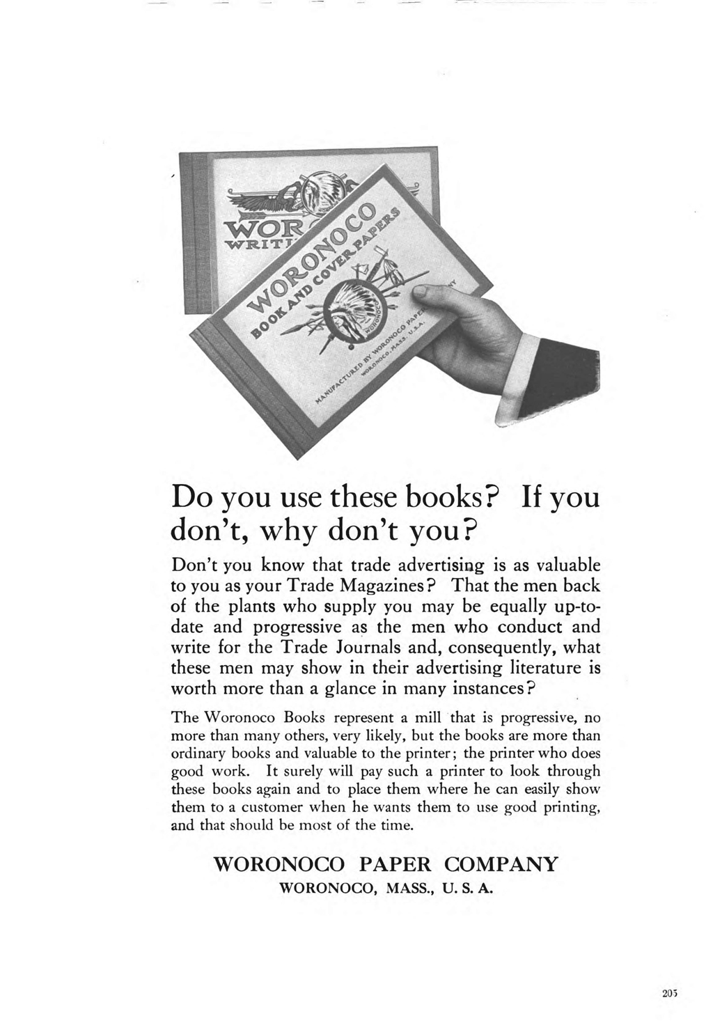 Advertisement for Woronoco sample books in The Inland Printer (May 1910), p. 205.
