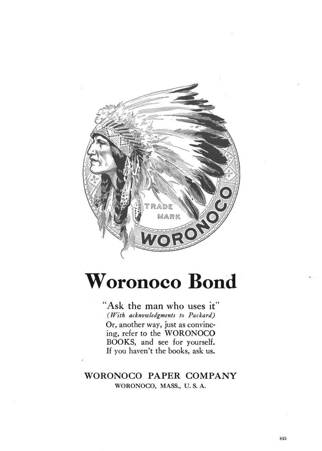 Woronoco Bond advertisement in The Inland Printer vol 45, no. 6 (September 1910).