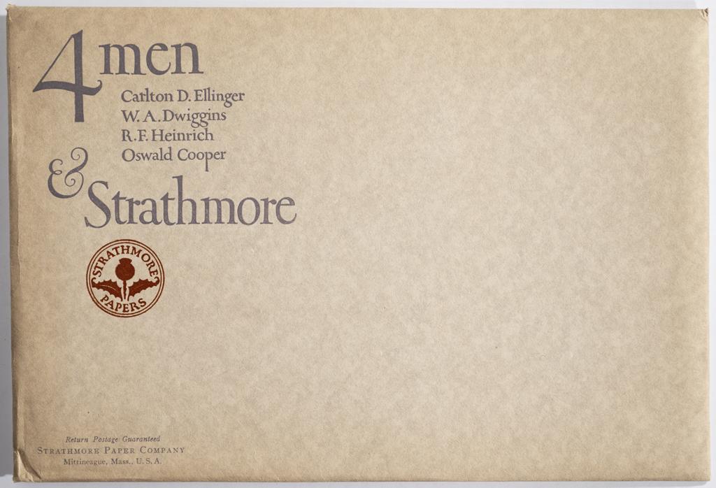 4 Men & Strathmore envelope (1923). Design by Oswald Cooper. Photograph by Annie Schlechter.