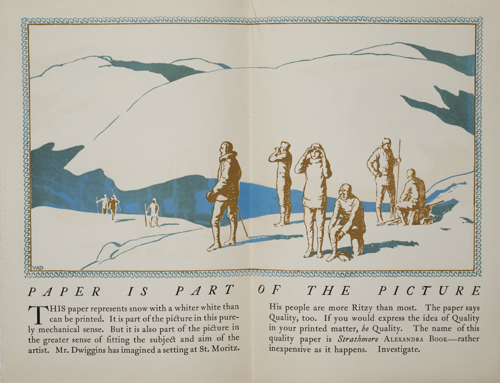 Paper Is Part of the Picture interior spread (Strathmore Paper Co., 1923). Design by W.A. Dwiggins. Photograph by Annie Schlechter.