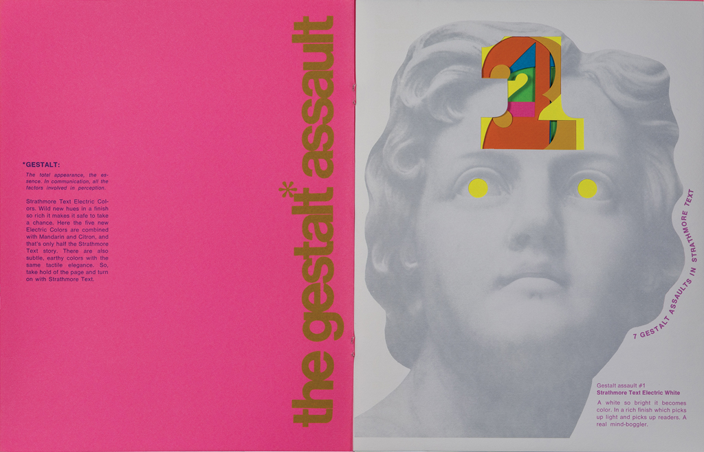 The Gestalt Assault spread (Strathmore Paper Co., 1970). Design by Ken Kuenster. Photograph by Ariel Smullen.