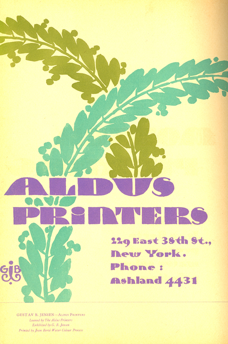 Advertisement for Aldus Printers and the Jean Berté Process. Courtesy of Nan Ridehalgh.