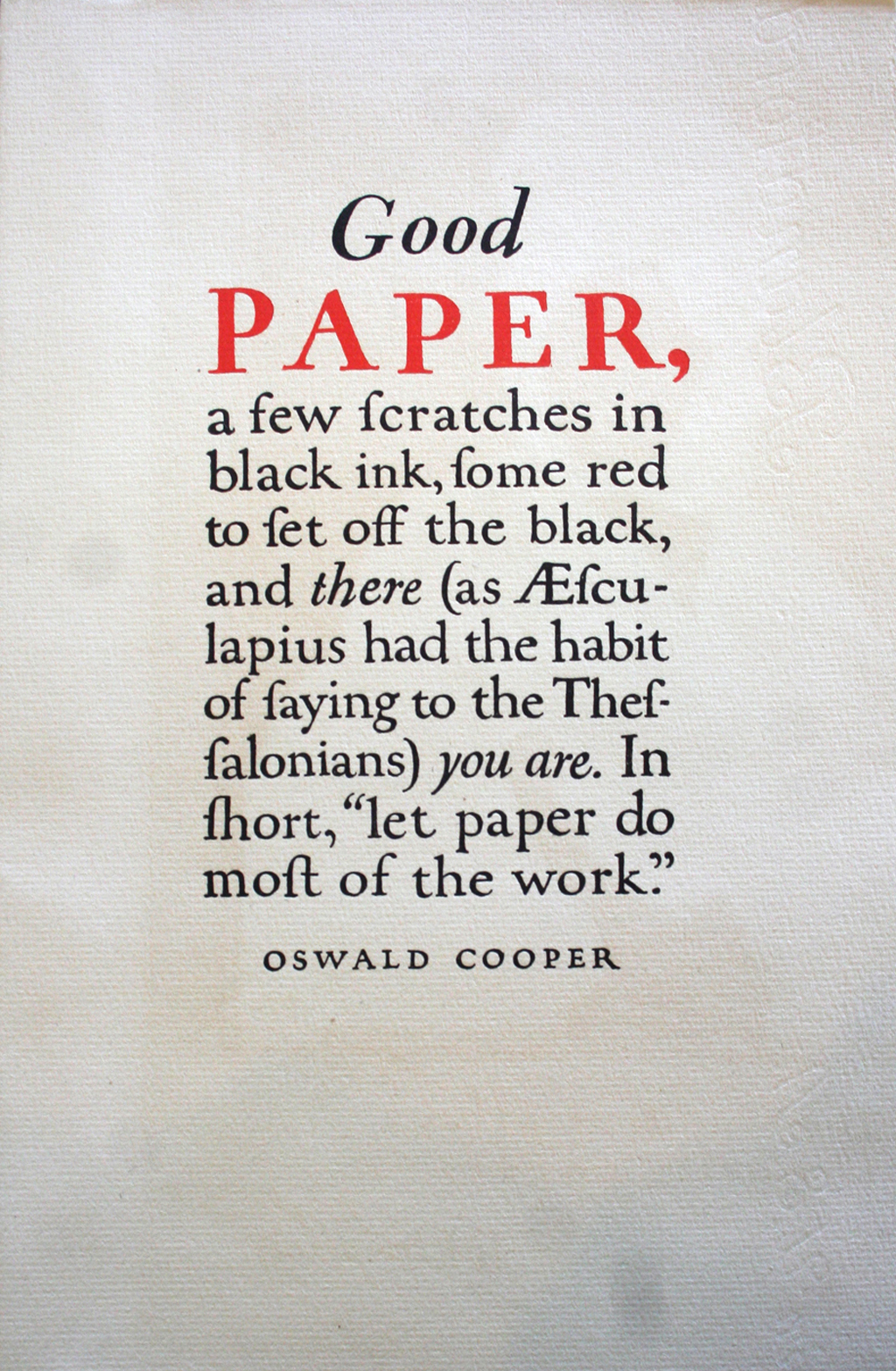 """Good Paper"" (Strathmore Paper Co., 1923). Design by Oswald Cooper."