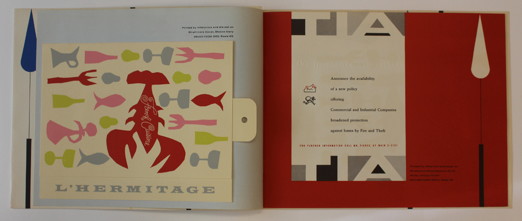 Spread from Strathmore Expressive Printing Papers portfolio (Strathmore Paper Co., 1956). Design by George Samerjan.