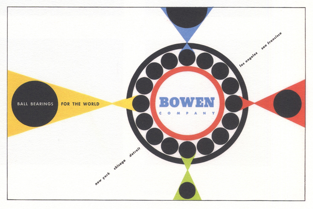 Bowen Company sample design from Strathmore Expressive Printing Papers (Strathmore Paper Co., 1953). Design by Peter Piening.