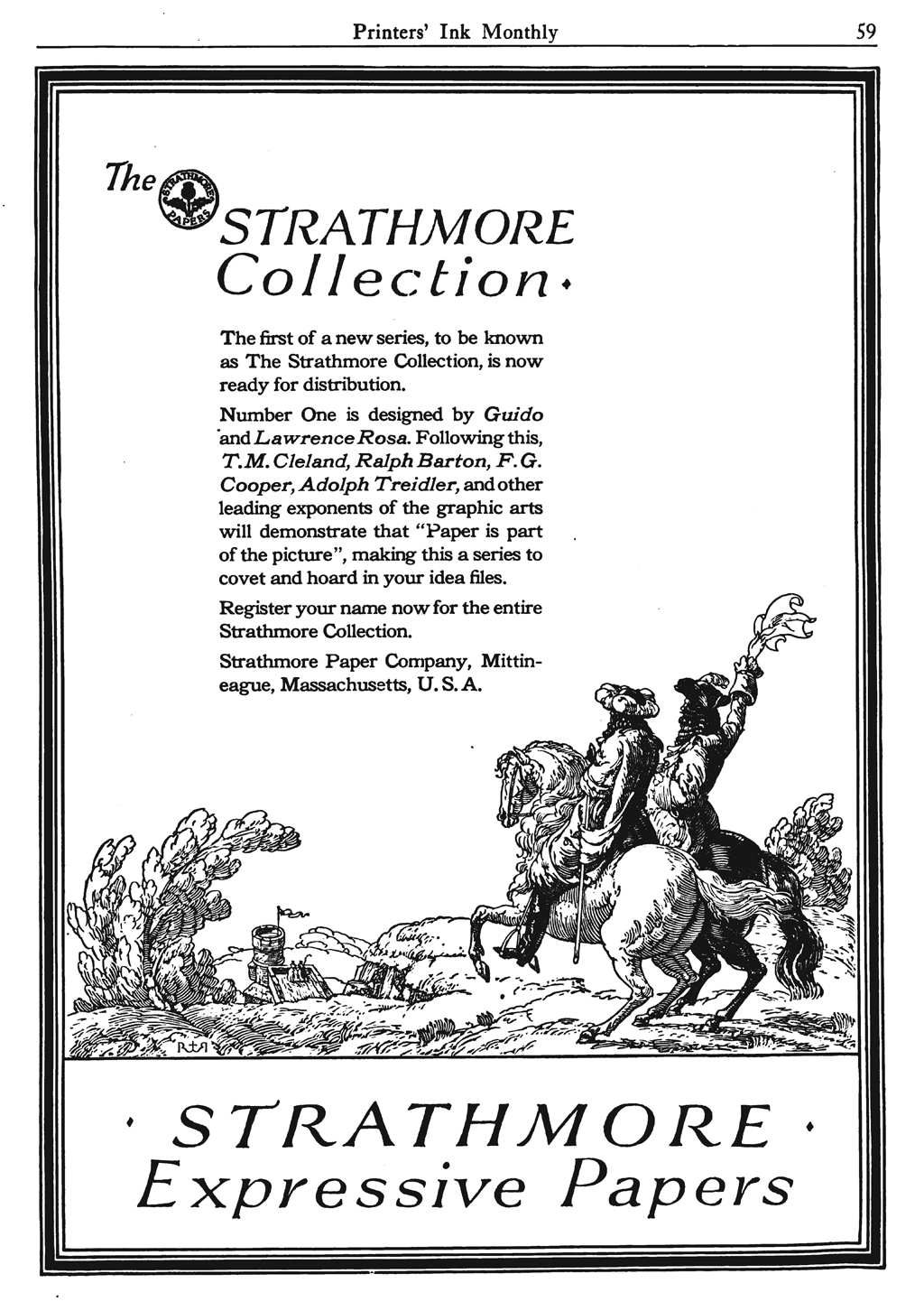 """The Strathmore Collection"" advertisement in Printers' Ink Monthly vol. 4, no. 4 (March 1922). Design by Guido and Lawrence Rosa."