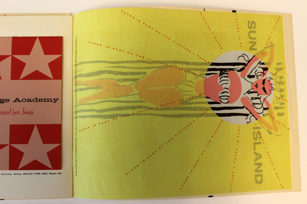 Page from Strathmore Expressive Printing Papers portfolio (Strathmore Paper Co., 1956). Design by George Samarjan.