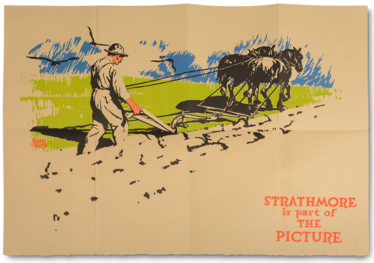 """Strathmore is part of the Picture"" poster (Paper Is Part of the Picture opened up) (Strathmore Paper Co., 1922). Design by Adolph Treidler. Photograph by Vincent Trinacria."