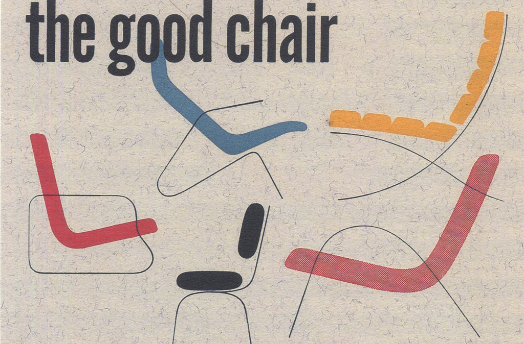 """""""the good chair"""" sample design from Strathmore Expressive Printing Papers portfolio (Strathmore Paper Co., 1951). Design by Will Burtin."""