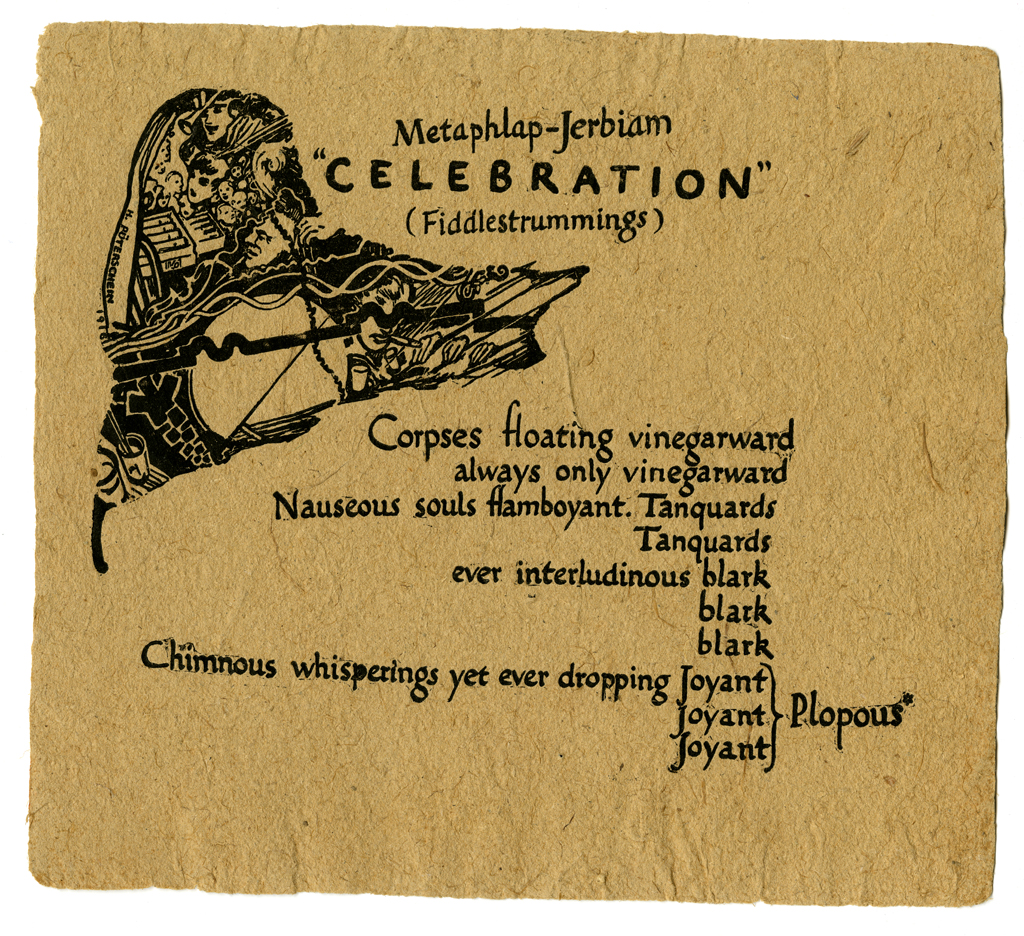 "Metaphlap-Jerbiam ""Celebration"" (Fiddlestrummings) (1916). Illustration by Hermann Püterschein (pseud. W.A. Dwiggins); calligraphy by W.A. Dwiggins."