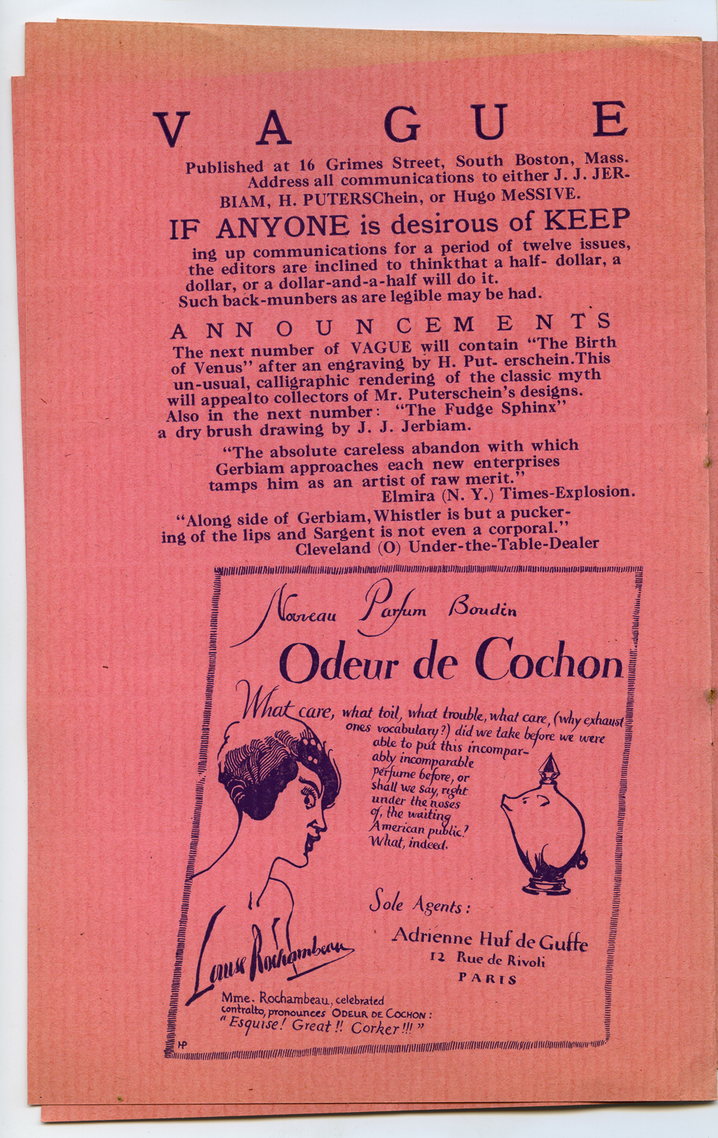 """Odeur de Cochon"" advertisement [p. 6] from Vague (1915). Design by Hermann Püterschein (pseud. W.A. Dwiggins)."