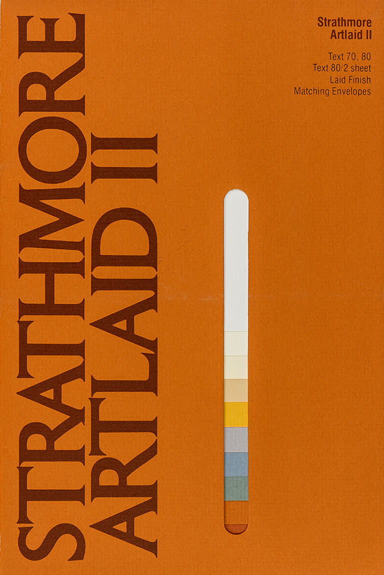 Strathmore Artlaid II sample book (Strathmore Paper Co., 1980). Designer unknown. Photograph by Vincent Trinacria.