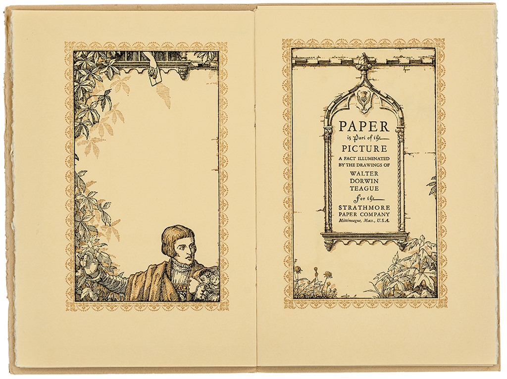 Paper Is Part of the Picture title page spread (Strathmore Paper Co., 1922). Design by Walter Dorwin Teague. Photograph by Vincent Trinacria.