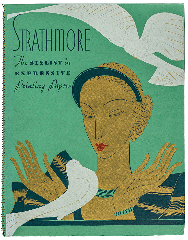 Strathmore: The Stylist in Expressive Printing Papers promotional mailer (Strathmore Paper Co., 1935). Illustration by Eduardo Garcia Benito. Photograph by Vincent Giordano.