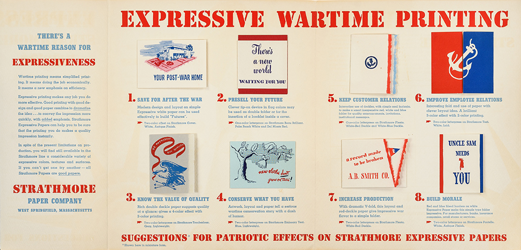 Expressive Wartime Printing mailer opened up (Strathmore Paper Co., 1941). Designer unknown. Photograph by Vincent Trinacria.
