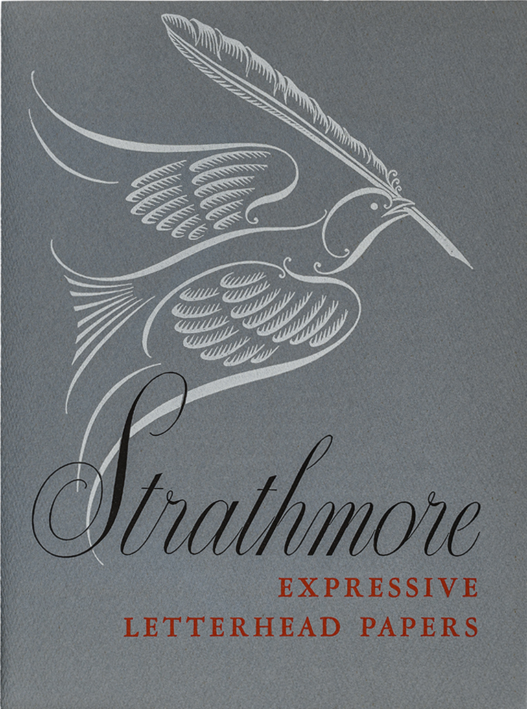 Strathmore Expressive Letterheads portfolio cover (Strathmore Paper Co., 1949). Design by Charles Capon. Photograph by Vincent Trinacria.