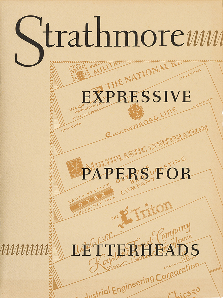 Strathmore Expressive Papers for Letterheads portfolio (Strathmore Paper Co., 1950). Design by Rudolph Ruzicka. Photograph by Vincent Giordano.