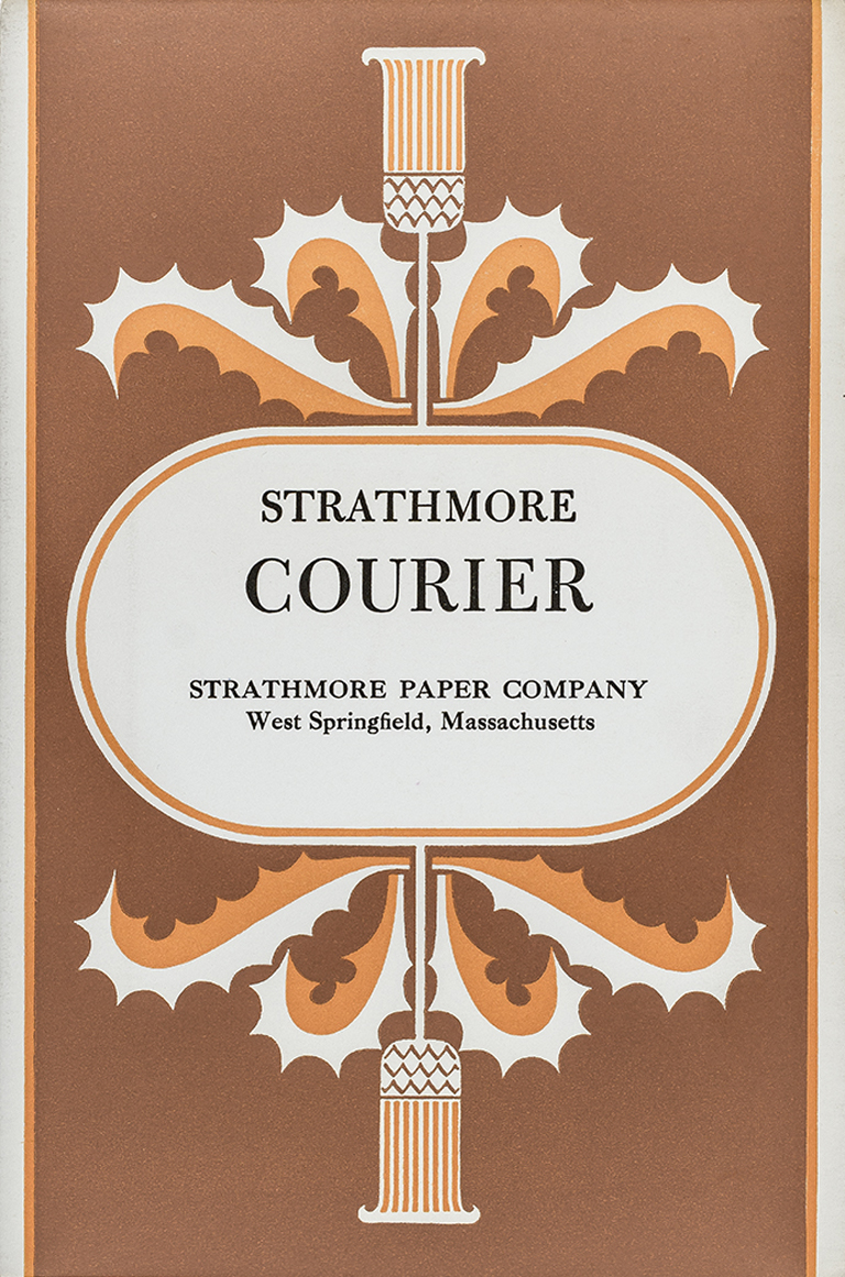 Strathmore Courier swatch book (Strathmore Paper Co., c.1953). Design by Cornelia Hoff. Other paper lines used the same stylized thistle but were distinguished by different colors.