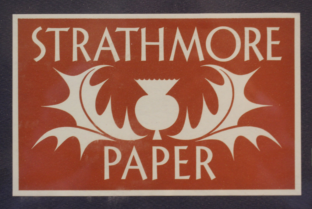 Packing label for Strathmore Paper (early 1940s). Design by Cornelia Hoff.