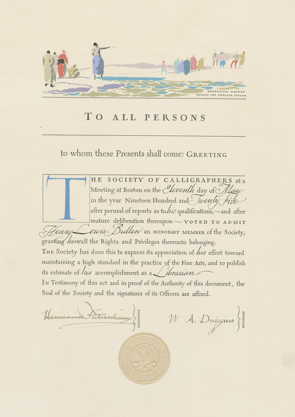 Society of Calligraphers certificate of Honorary Membership for Henry Lewis Bullen (1925). Design, illustration and calligraphy by W.A. Dwiggins.