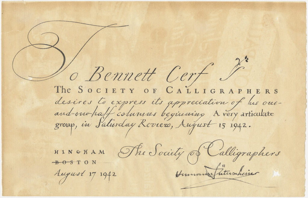 Society of Calligraphers appreciation note to Bennett Cerf (August 17, 1942). Courtesy of Rare Book and Manuscript Library, Columbia University.