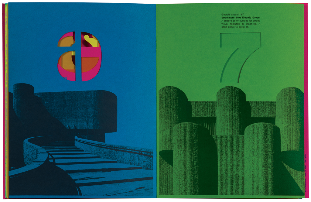 Spread from the gestalt assault mailer (Strathmore Paper Co., 1970). Design by Ken Kuenster. Photograph by Ariel Smullens.