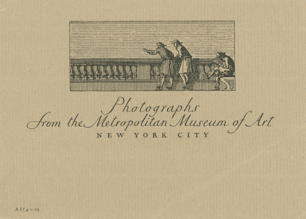 Shipping label for the Metropolitan Museum of Art (1918). Illustration and lettering by W.A. Dwiggins.