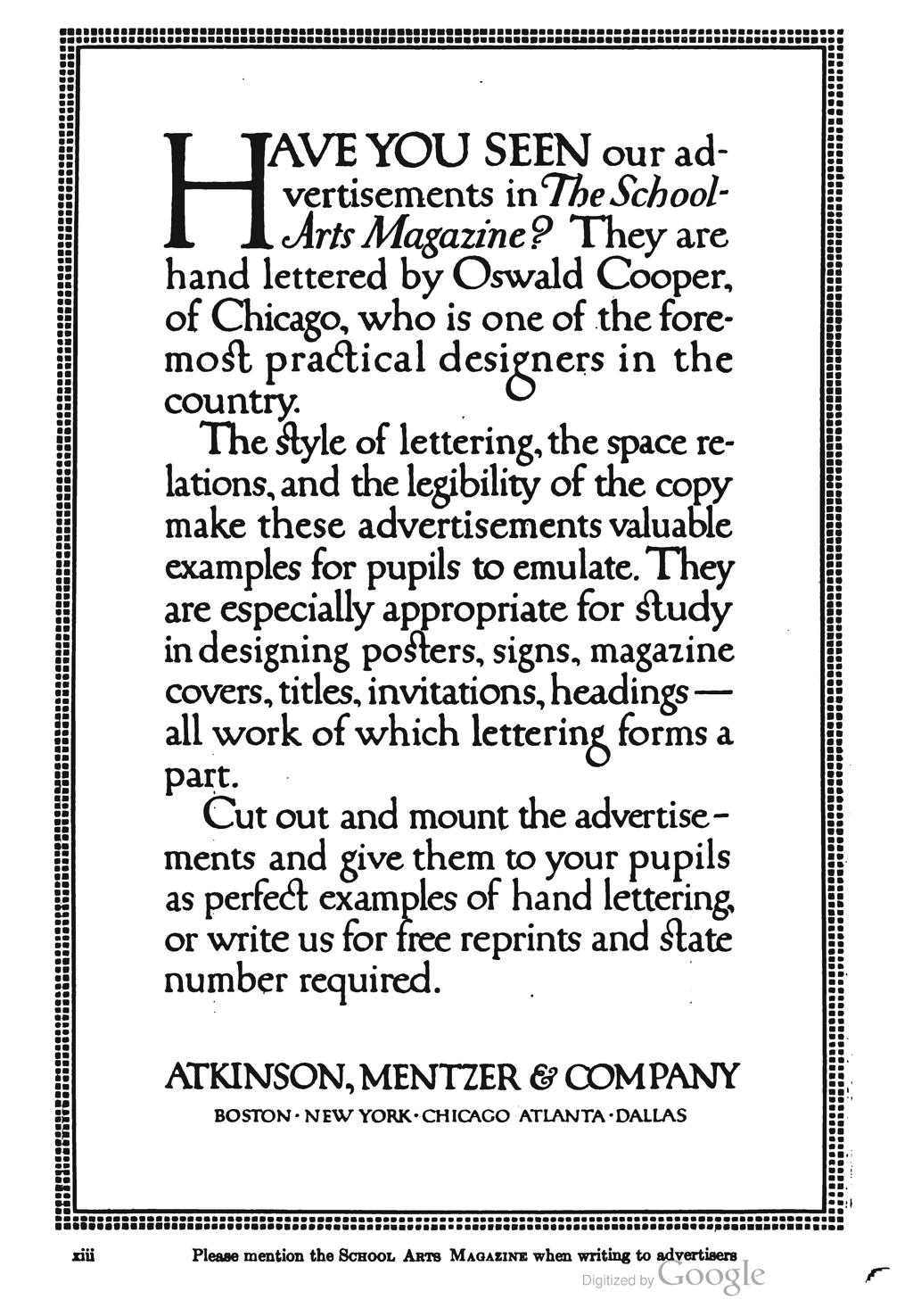 Advertisement for Atkinson, Mentzer & Company in The School Arts Magazine (1913). Handlettered by Oswald Cooper.