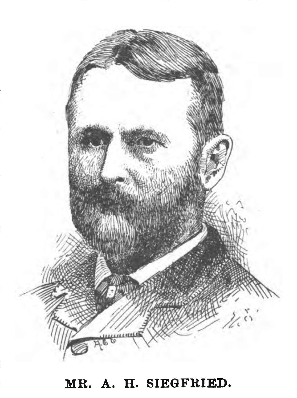Portrait of Addison H. Siegfried by A.E.E. (1893). From The Mississippi River and Its Source by J.V. Brower (Minneapolis: Harrison & Smith, State Printers, 1893).