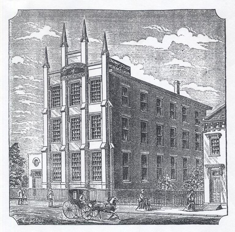Cincinnati College of Medicine & Surgery building (c.1877). From Cincinnati College of Medicine & Surgery Annual Announcement for 1877–78. The Forty-Third Regular Session (Cincinnati: H. Watkin, Printer, 1877).