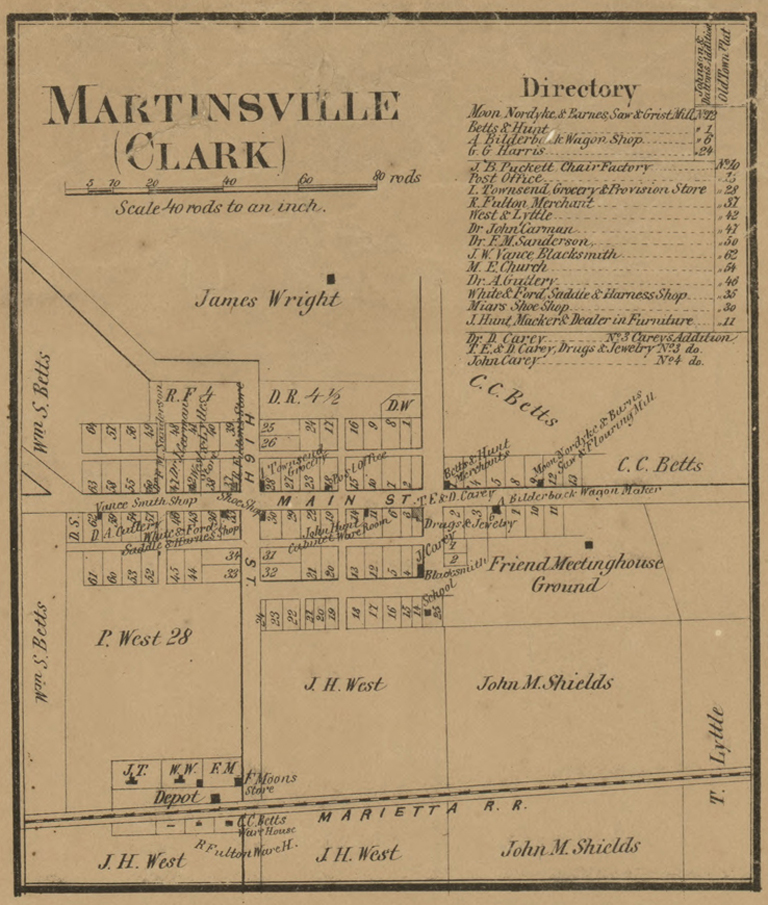 Martinsville, Ohio. Detail from Map of Clinton County, Ohio by H.E. Walling (1859).