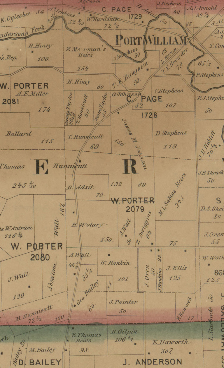 "Detail of Liberty Township, Clinton County, Ohio showing Zimri Dwiggins property (below ""W. PORTER 2079"". Detail from Map of Clinton County, Ohio from Surveys under the Direction of H.E. Walling, 1859."