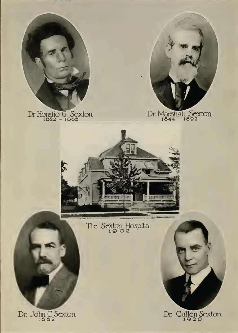 Dr. Marshall Sexton (upper right). The Sextons were a medical family. From Centennial History of Rush County, Indiana edited by A.L. Gary and E.B. Thomas (Indianapolis: Historical Publishing Company, 1921), vol. II, p. 24.