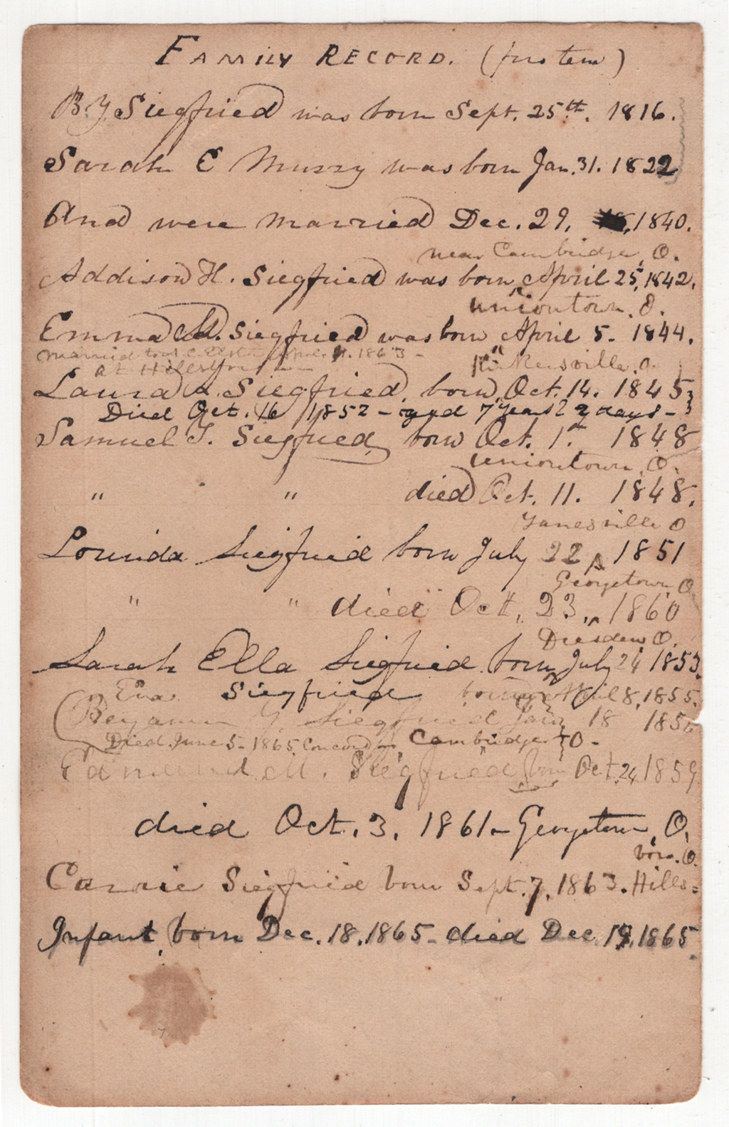 "Siegfried ""Family Record"" (n.d.) Courtesy Special Collections, Boston Public Library."