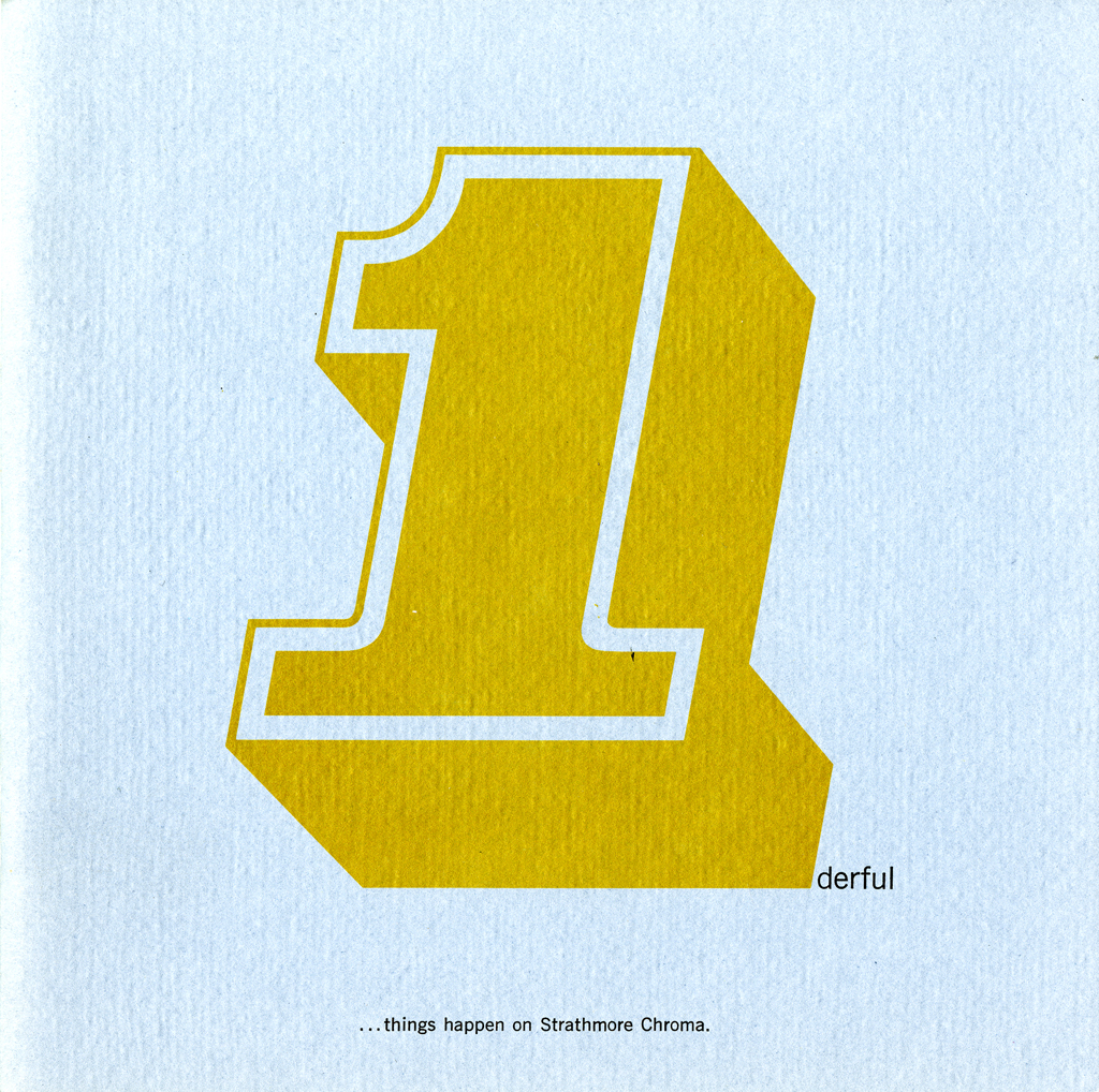 Cover of 1derful promotion (Strathmore Paper Co., 1966). Design by George Tscherny. Image courtesy of the Milton Glaser Design Study Center and Archives, School of Visual Arts.