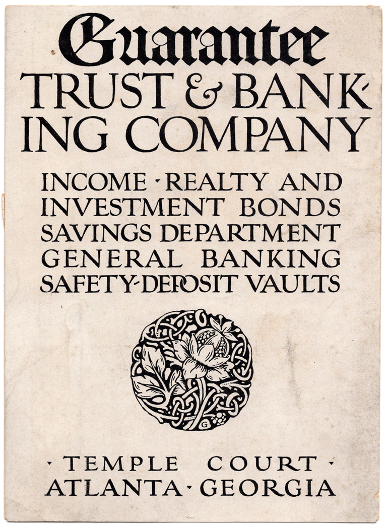 Cover of Guarantee Trust & Banking Company brochure (n.d.). Design, ornament and lettering by Frederic W. Goudy.