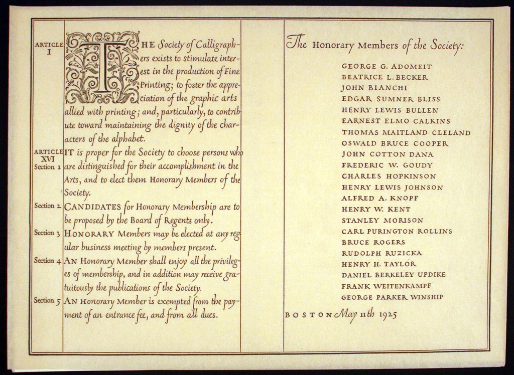 The Articles and Honorary Members of the Society of Calligraphers (1925). Calligraphy and design by W.A. Dwiggins.