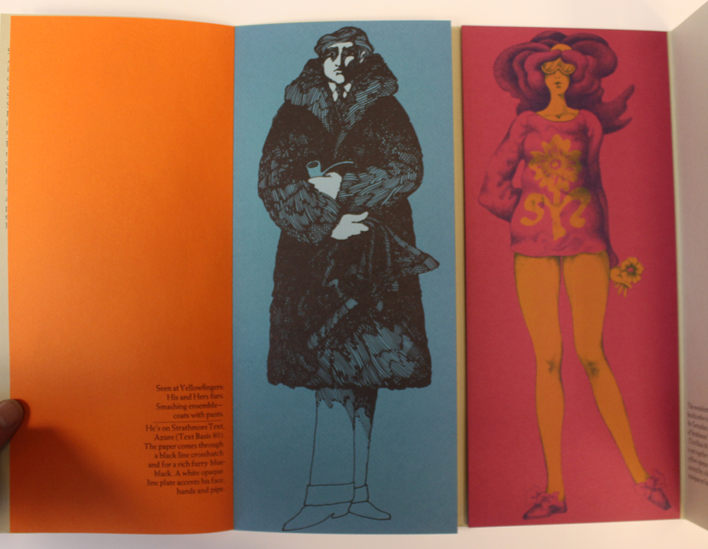 Interior spread from Fashion Forecast: Strathmore Text! promotion (Strathmore Paper Co., 1969). Illustrations by John Alcorn.